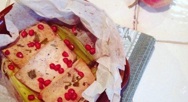 cartoccio porri melagrana crispy baked tofu